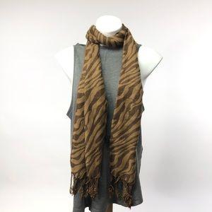 Tiger striped tan brown scarf fringe animal